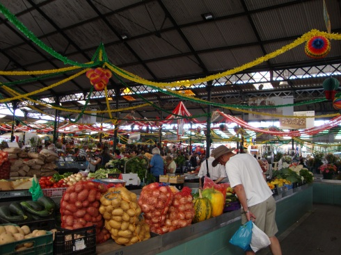 A discerning shopper at the market at Figueira da Foz