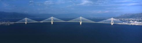 The Rion-Antirrion Bridge crossing the Gulf of Corinth
