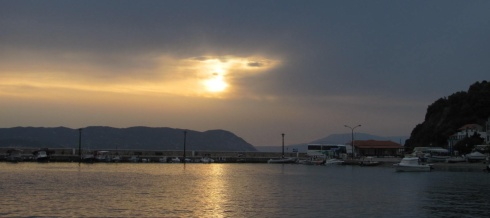 A watery sunset over Loutraki marking the change to unsettled weather ahead.