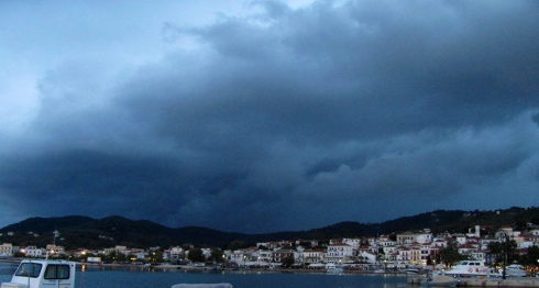 Storm clouds over Skopelos Town
